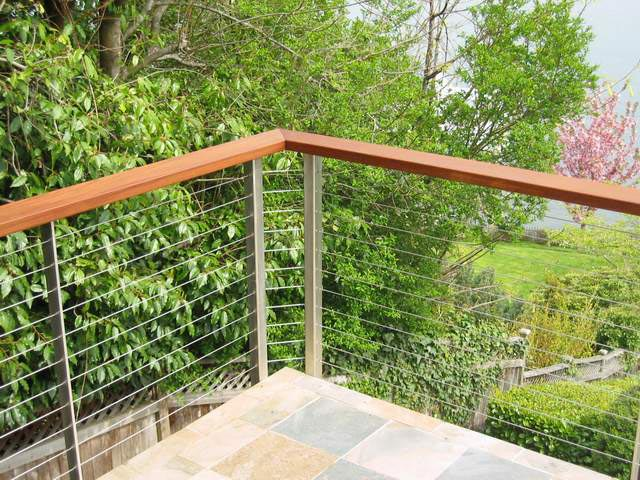 Cable Railing Done In Stainless Posts And Ironwood Ipe